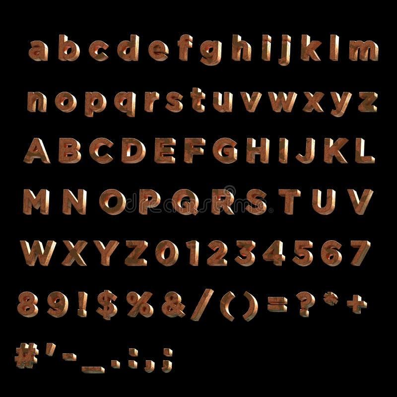 stilsorten 3D målade rött svimmat wood- fullt alfabet för wood- fullt alfabet stock illustrationer