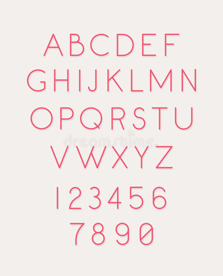 Stilsorten ställde in av bokstäver och nummer vektor Linjärt tunt, konturbokstäver Latinsk stilsort Rosa glamorösa bokstäver Kvin vektor illustrationer