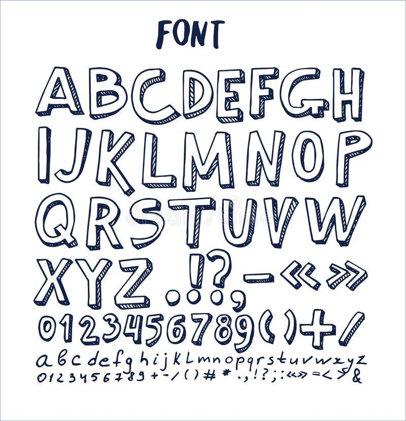 Stilsorter räcker det utdragna beståndsdelalfabetet den skriftliga bläckpennan royaltyfri illustrationer
