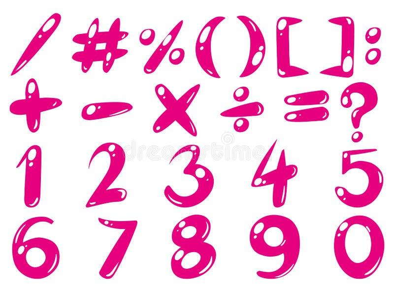 Stilsortsdesignen för nummer och undertecknar in rosa färger royaltyfri illustrationer