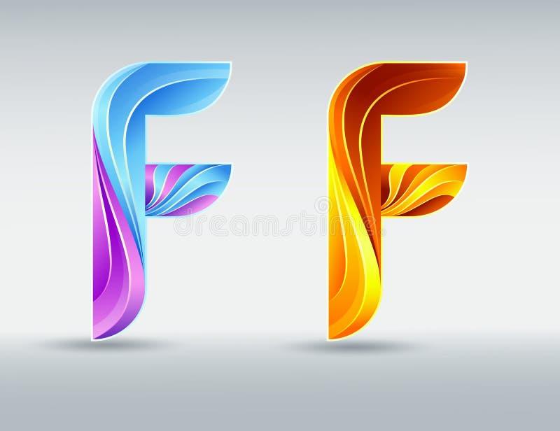 Stilsortslogo Idérik vriden bokstav F Abstrakt stilsort 3D Karamell och ultravioletta färger Ett elegant typografisk begrepp vektor illustrationer