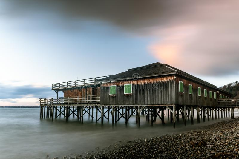 Stilt house on the shore of Lake Constance in Bregenz. Stilt house on the shore of Lake Constance Bodensee in Bregenz Austria, public swimming bath royalty free stock photo