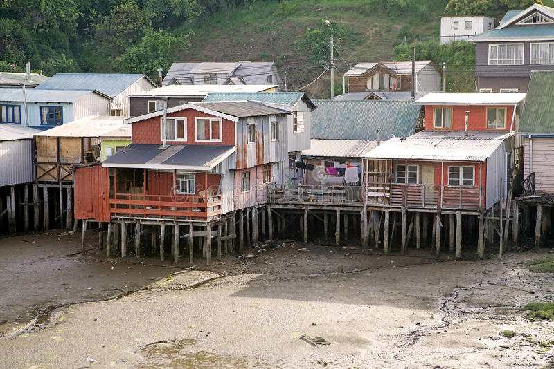 Stilt houses at Castro, Chiloe Island, Chile. Traditional wooden stilt houses, palafitos, at Castro in Chiloe Island, Chile. Castro was founded in 1567 and it is stock images