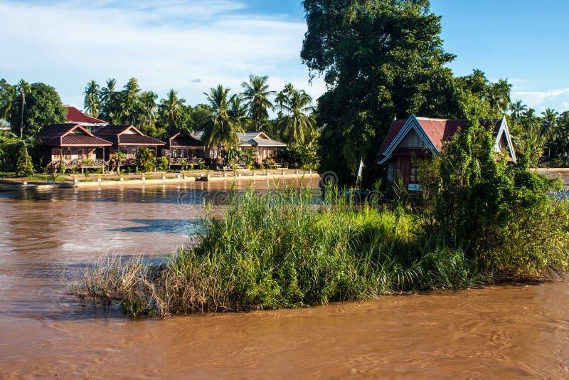Stilt houses on Mekong river royalty free stock photos