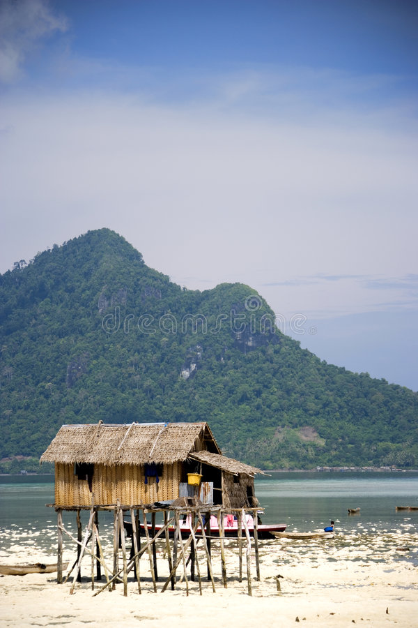 Download Stilt Hut On Tropical Beach Stock Photo - Image of abode, traditional: 4769884