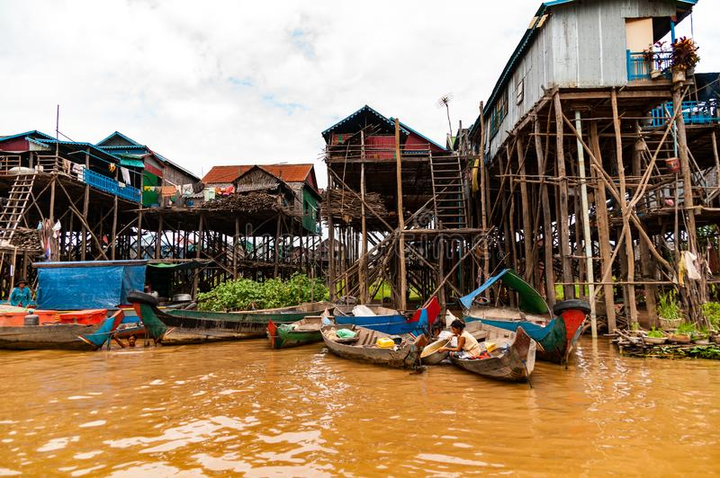 Stilt Village near Tonle Sap Lake, Cambodia, Indochina stock photo