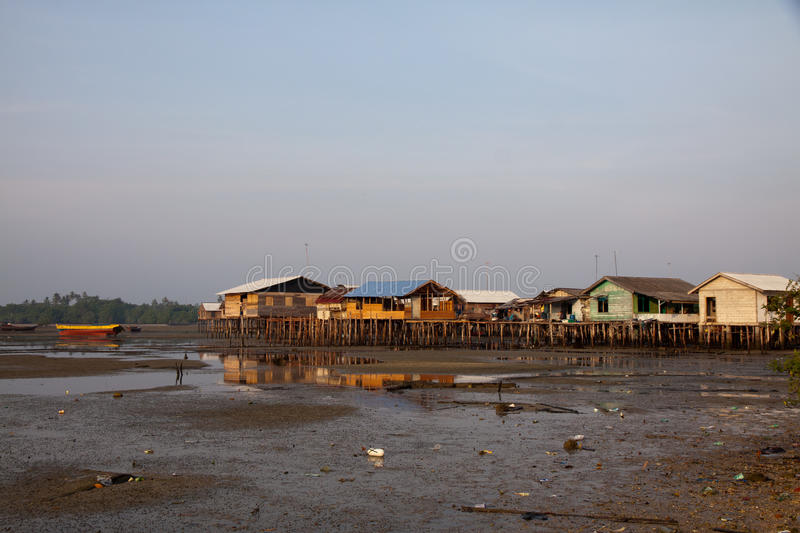 Stilted houses in village on Bintan, Indonesia stock image