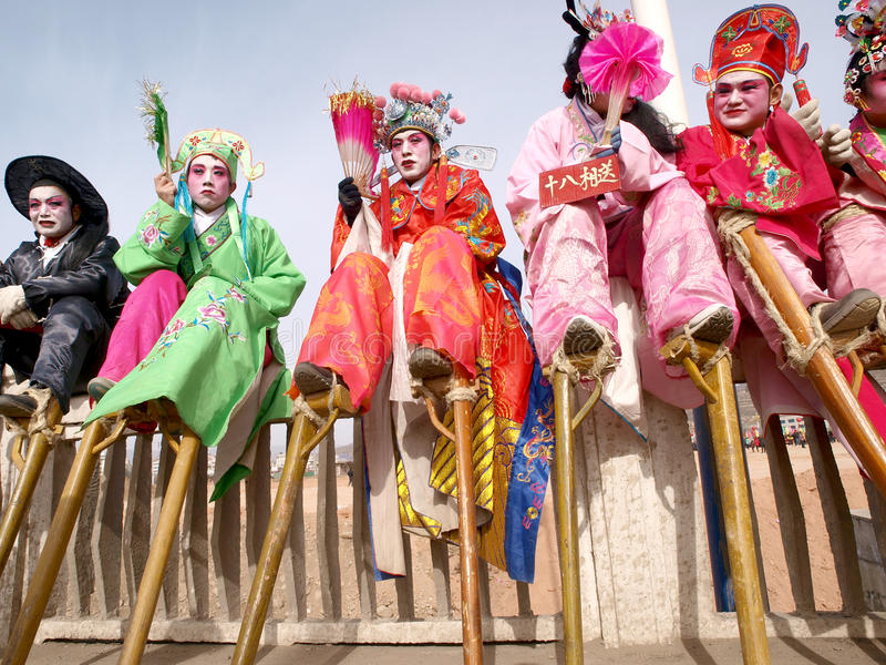 Stilts Actor Sitting Baluster Rest Editorial Photography