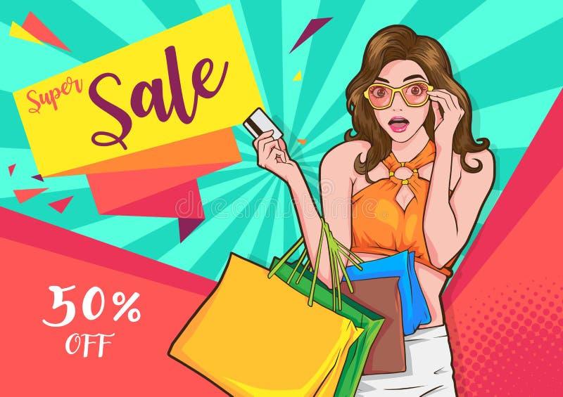 Stilvolle Überraschungsfrau mit Einkaufstaschen stock abbildung