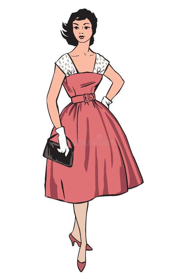 Stilvolle Art und Weise gekleidetes Mädchen (Jahrjahrart lizenzfreie abbildung