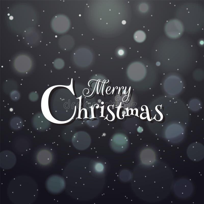 Stilvolle Beschriftung von frohen Weihnachten auf schwarzem bokeh Hintergrund f stock abbildung