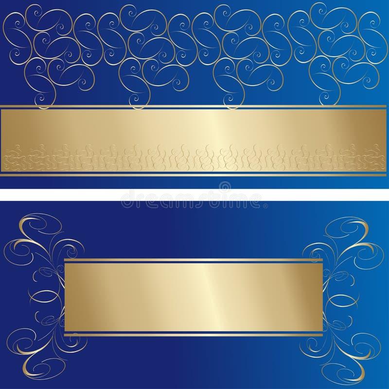 Stilvolle Blau- und Goldgrußkarten vektor abbildung