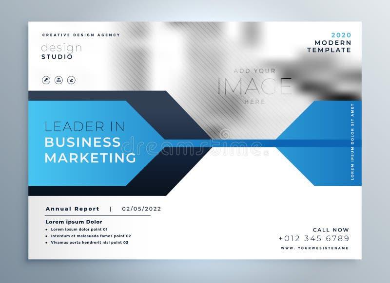 stilvolle blaue Geschäftsfliegerdesign-Darstellungsschablone lizenzfreie abbildung