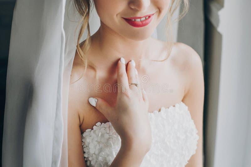 Stilvolle Braut, die im weichen Licht nahe Fenster im Hotelzimmer aufwirft Geerntete Ansicht des herrlichen sinnlichen Brautportr stockfotos