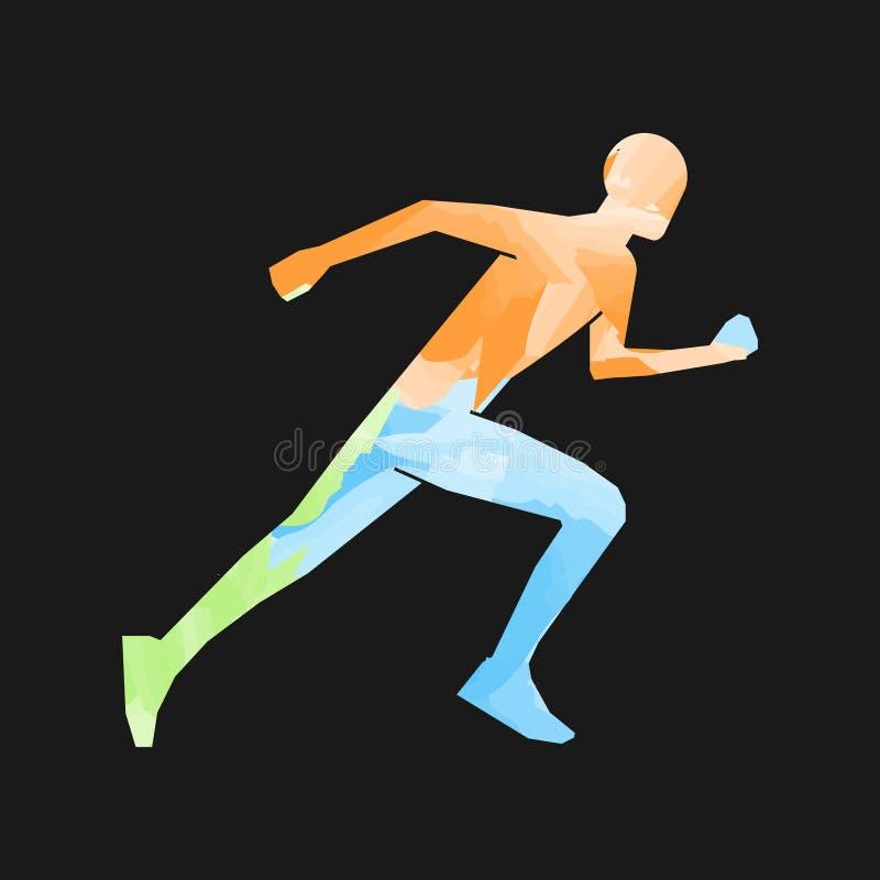 Stilvolle farbige Schattenbilder von Läufern lizenzfreie abbildung