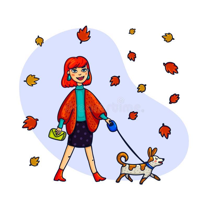 Stilvolle Frau, die mit einem Hund geht Vektorillustration in einer flachen Art lizenzfreie abbildung