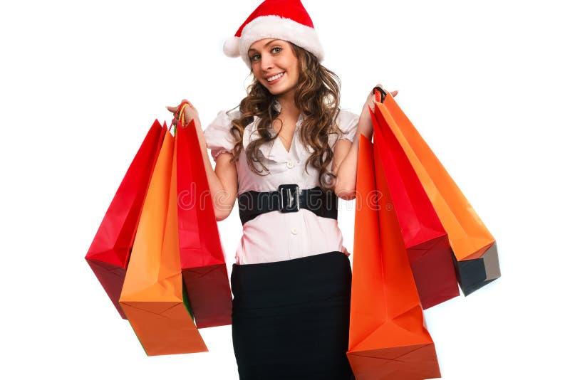 Stilvolle Frau mit Einkaufstasche stockbild