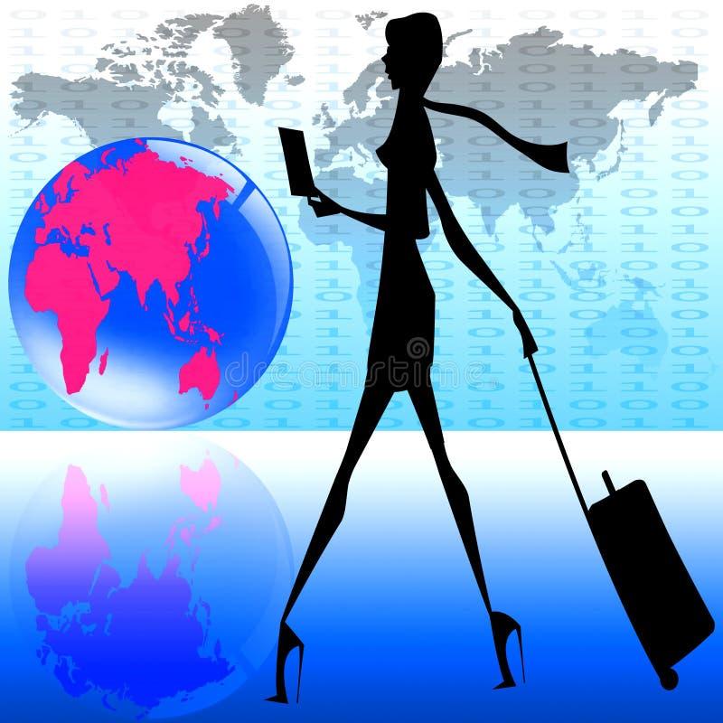 Stilvolle Frauenweltreise lizenzfreie stockbilder
