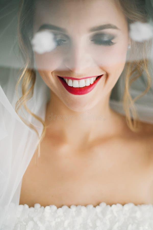 Stilvolle glückliche Braut, die unter Schleier aufwirft und im weichen Licht nahe Fenster im Hotelzimmer lächelt Herrliches sinnl lizenzfreies stockfoto