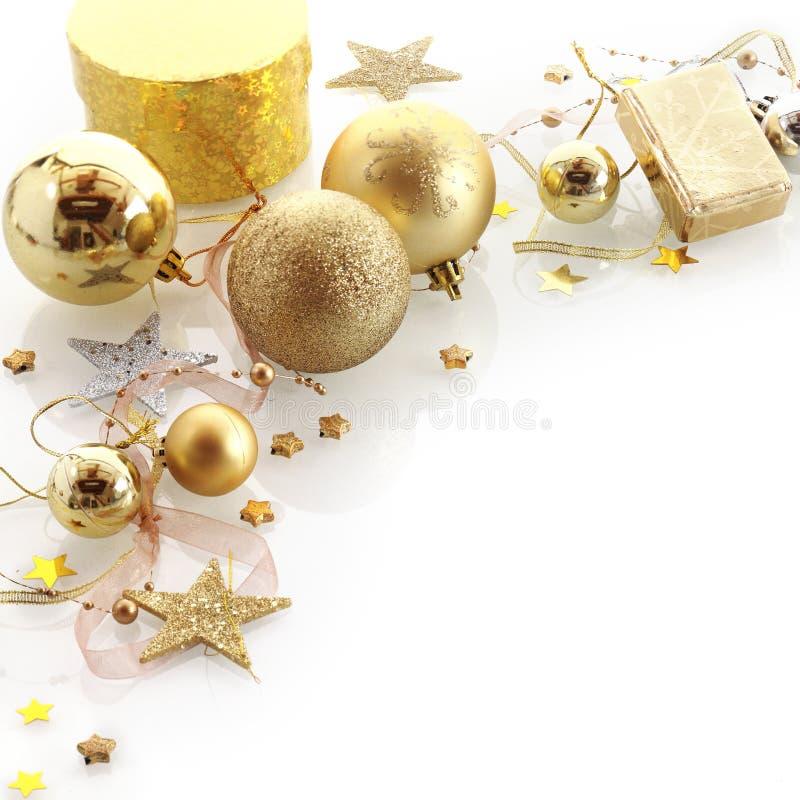 Stilvolle Goldweihnachtseckengrenze lizenzfreie stockfotografie