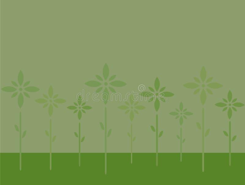 Stilvolle grüne Blumen auf Latten - grüner Hintergrund stock abbildung