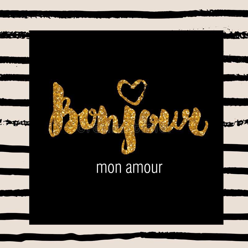 Stilvolle Hand gezeichnete Typografiekarte, Plakat, Plakat, T-Shirt Druck Art Paris, Frankreich stock abbildung