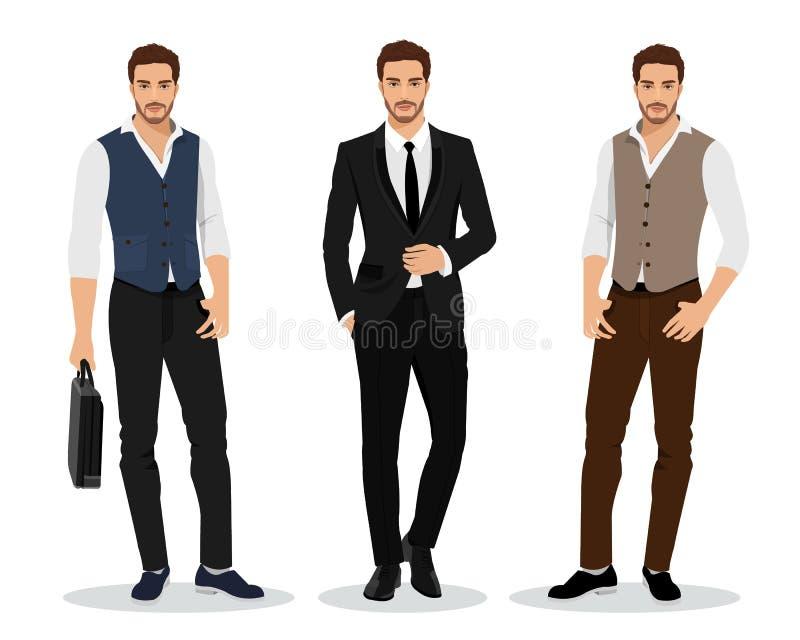 Stilvolle hohe ausführliche grafische Geschäftsmänner eingestellt Karikaturmännliche rollen Kleidung der Männer in Mode Flache Ar lizenzfreie abbildung