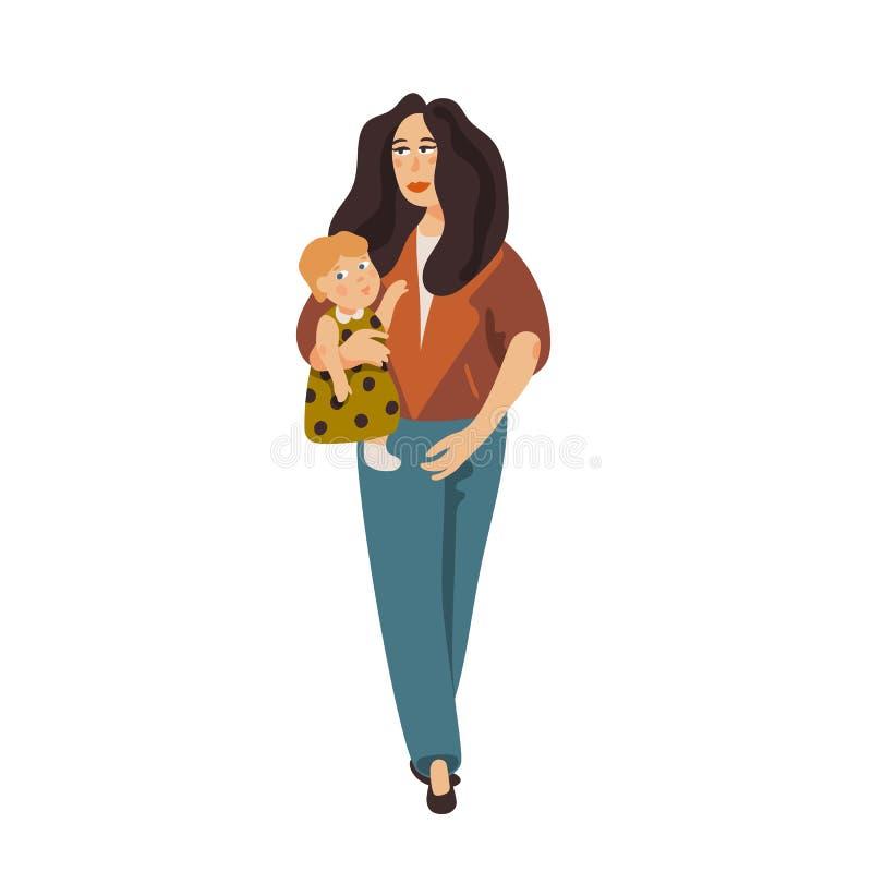 Stilvolle junge Mutter, die Baby hält Moderne gekleidete Mutter, die mit Baby geht Karikaturart-Vektorillustration vektor abbildung