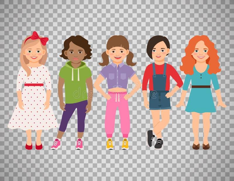 Stilvolle Mädchenclique auf transparentem Hintergrund lizenzfreie abbildung