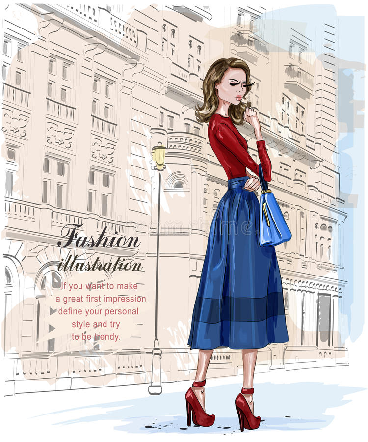 Stilvolle Modefrau mit Architekturhintergrund Stilvolle schöne junge Frau Hand gezeichnetes Mädchen mit Tasche skizze lizenzfreie abbildung