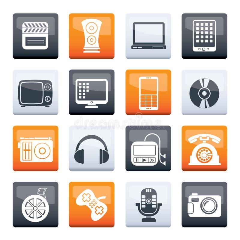 Stilvolle Multimedia- und Technologie-Icons über Farbhintergrund lizenzfreie abbildung