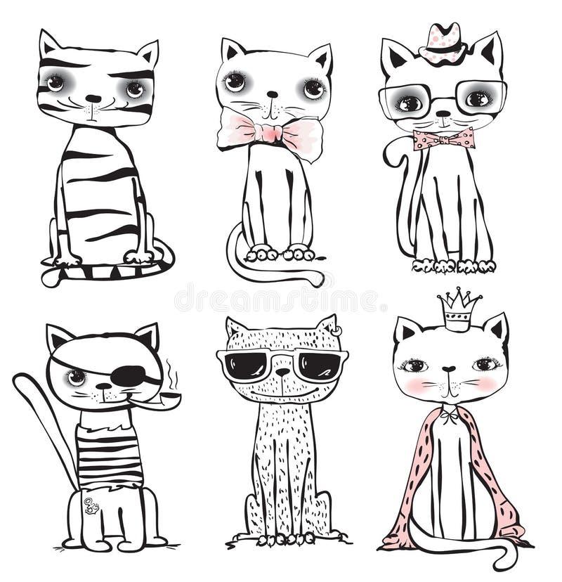 Stilvolle nette Katzen stock abbildung