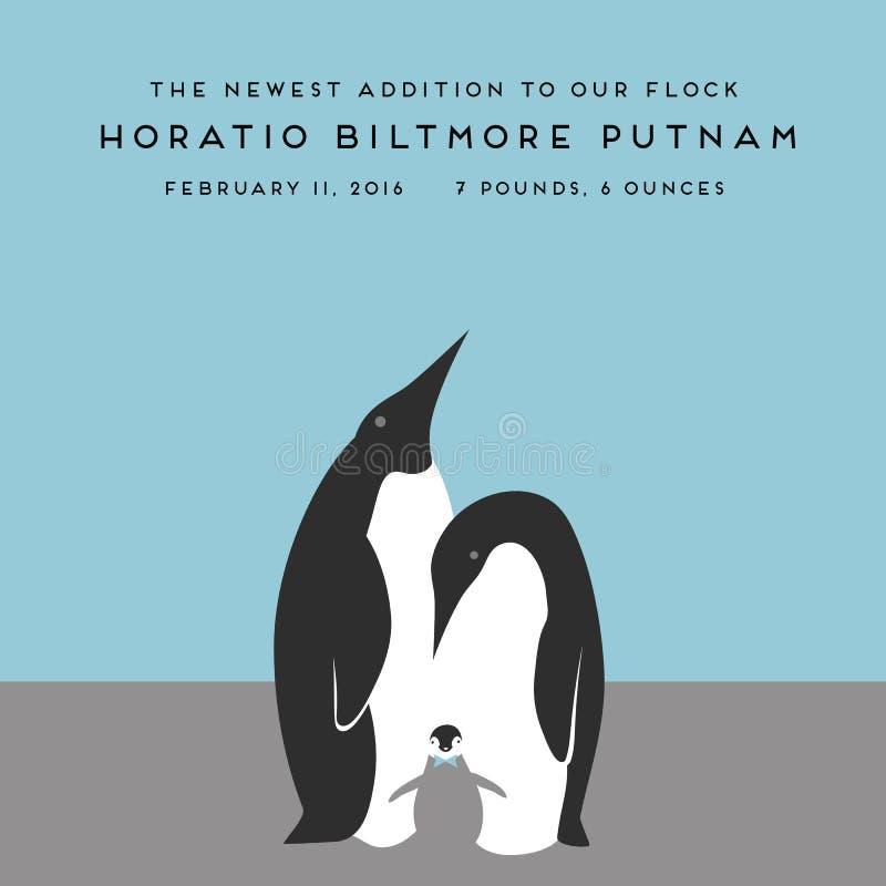 Stilvolle Pinguineltern und nettes Baby stock abbildung