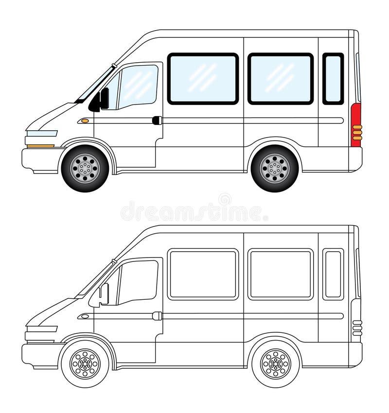 Stilvolle Reisemobiltransporter-Vektorillustration lizenzfreie abbildung