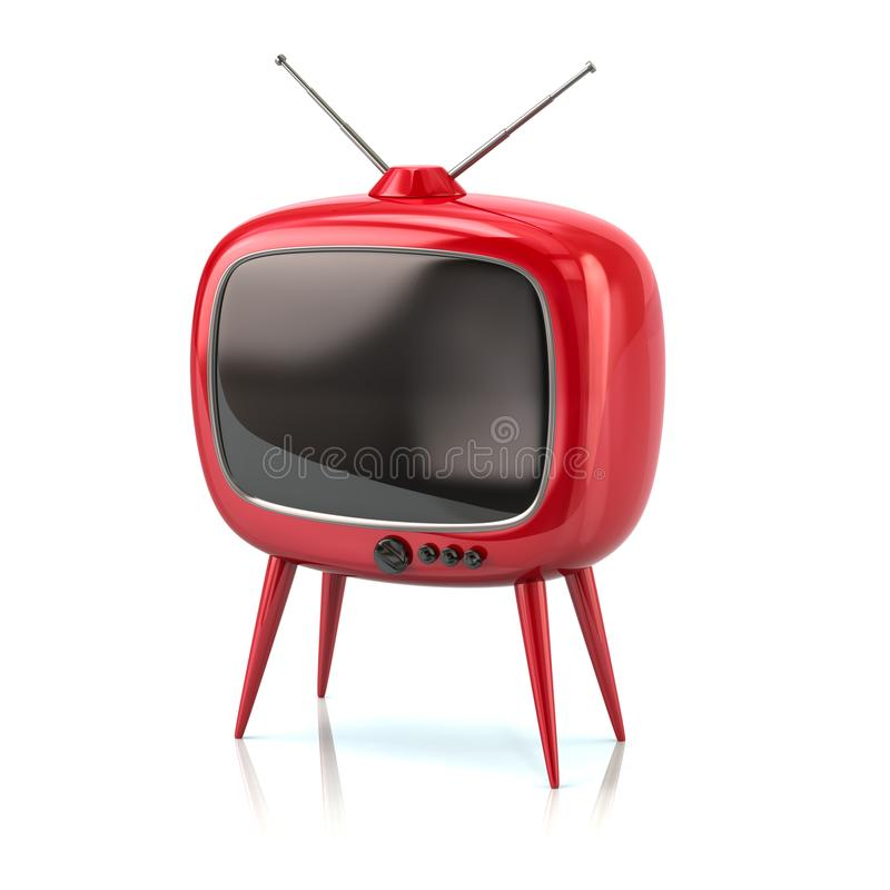 Stilvolle rote Retro- Illustration Fernsehen 3d stock abbildung