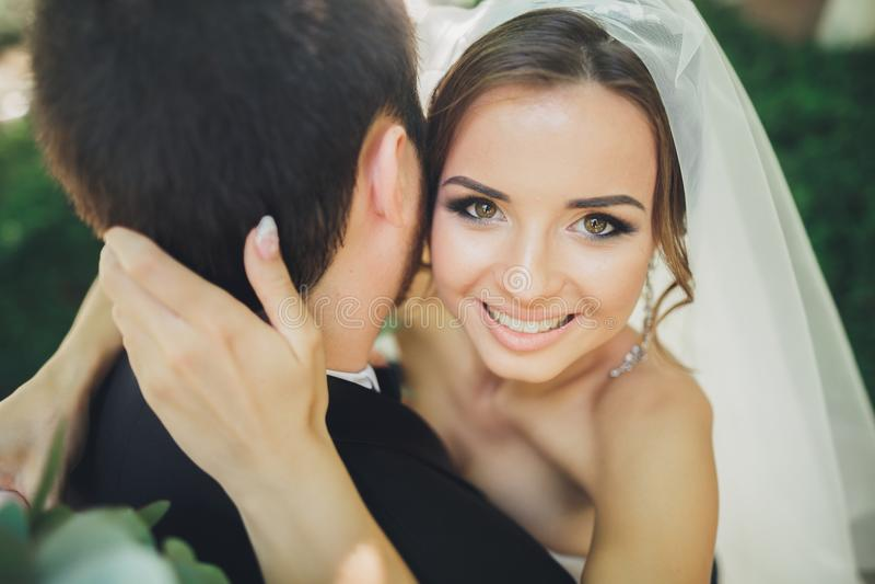 Stilvolle schöne Paare von glücklichen Jungvermählten an ihrem Hochzeitstag, Abschluss herauf Porträt lizenzfreies stockbild