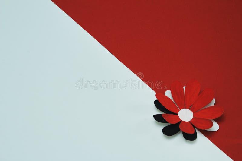 Stilvolle stilisierte dekorative Blume gemacht vom Papier auf der Grenze des roten und weißen Hintergrundes Minimaler Hintergrund stockfotos