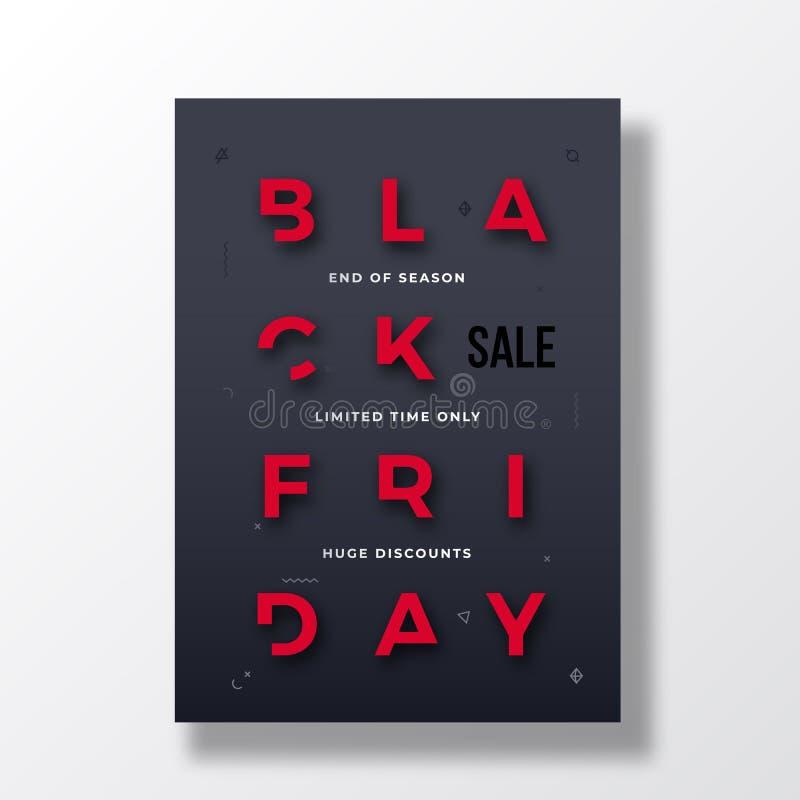 Stilvolle Typografie-Fahne Black Fridays, Plakat oder Flayer-Schablone Kreatives verringertes Buchstabe-Konzept Abstraktes dekora stock abbildung
