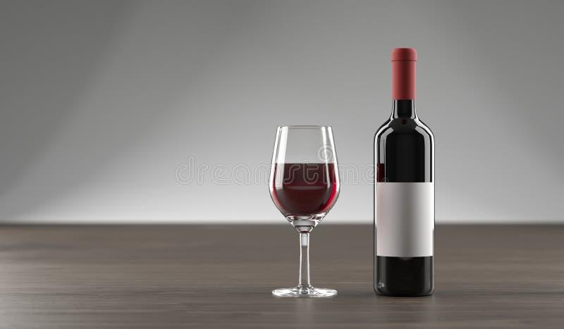 Download Stilvolle Wein-Flasche Und Glas Voll Vom Wein Stock Abbildung - Illustration von faß, trocken: 106800926