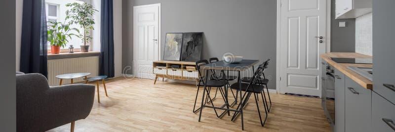 Stilvolle Wohnung im Grau, Panorama lizenzfreies stockfoto