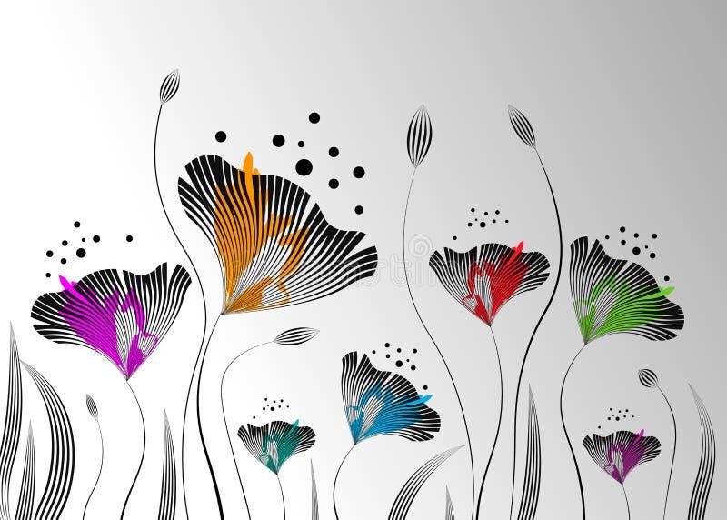 Stilvoller abstrakter mit Blumenhintergrund Farbige dekorative Blätter lizenzfreie abbildung