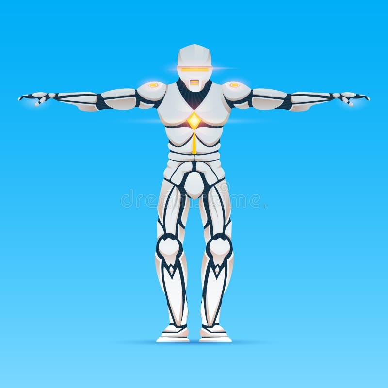 Stilvoller Cyborgmann Humanoid Roboter mit k?nstlicher Intelligenz, AI Charakter zeigt Gesten Android m?nnlich, futuristisch vektor abbildung
