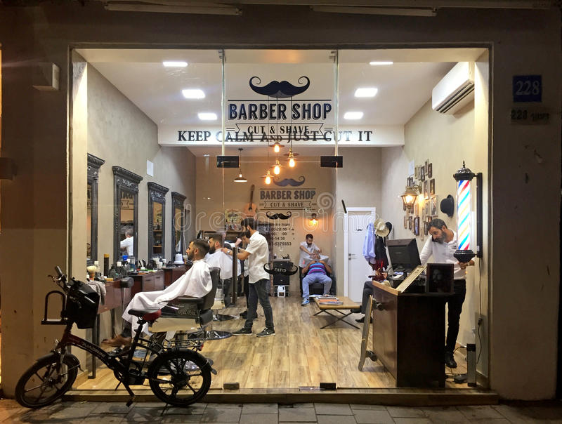 Stilvoller Friseursalon, Tel Aviv, Israel stockbild