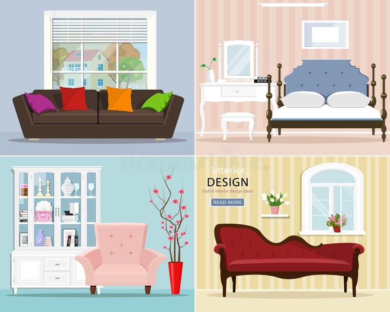 Stilvoller grafischer Raum eingestellt: Schlafzimmer mit Bett und Nachttabelle; Wohnzimmer mit Sofa, Lehnsessel, Fenster Wiederga vektor abbildung