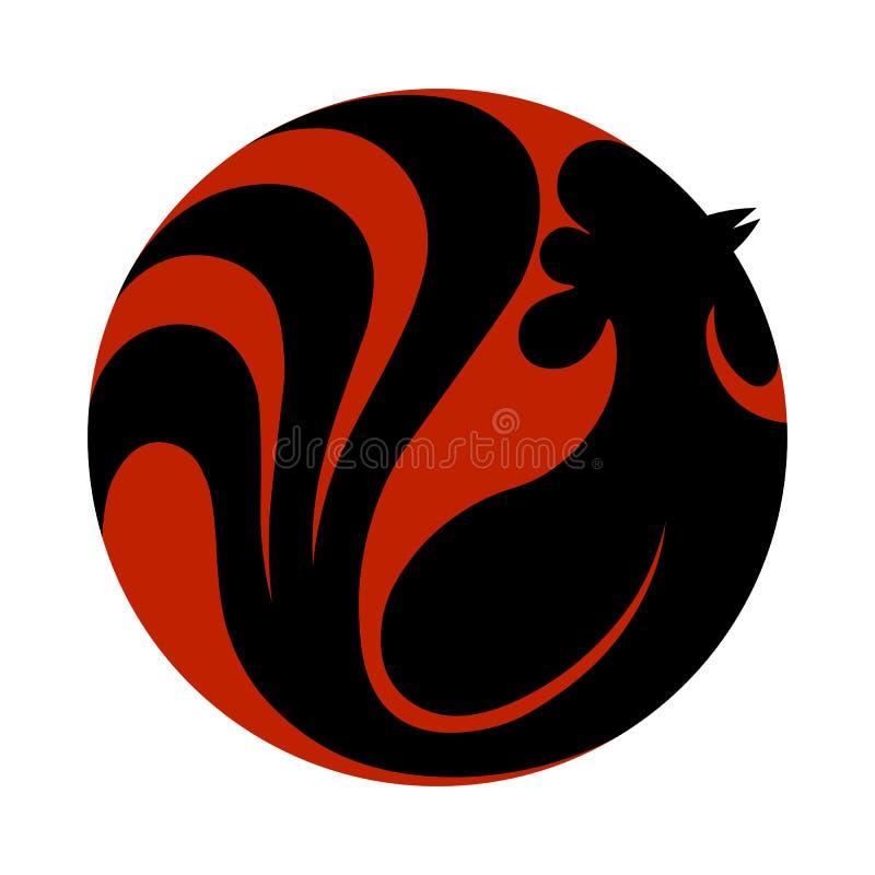 Stilvoller Hahn des weinartigen Logos Abstraktes Hahnlogo, Ikone Schwarzes coc vektor abbildung
