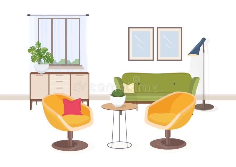 Stilvoller Innenraum des Wohnzimmers oder Salon voll von bequemen Möbeln und von Inneneinrichtung Moderne Wohnung versorgt lizenzfreie abbildung