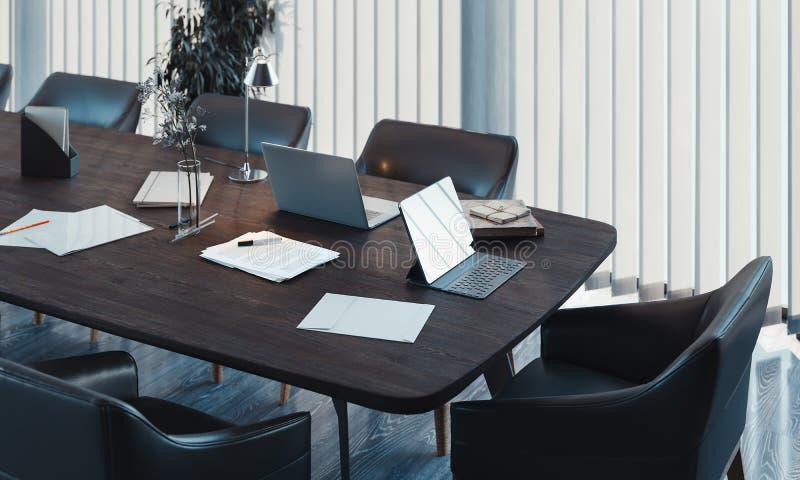 Stilvoller Konferenzsaalinnenraum mit gro?em Fenster und Holztisch Wiedergabe 3d vektor abbildung