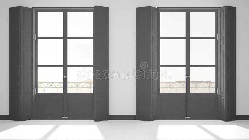 Stilvoller leerer Raum mit panoramischer Fensternahaufnahme, klassische Fensterläden, klassischer Balkon Seelandschaft, Granitfel lizenzfreie abbildung