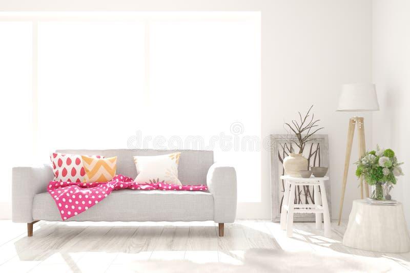 Stilvoller Raum in der weißen Farbe mit Sofa Skandinavische Innenarchitektur lizenzfreie abbildung