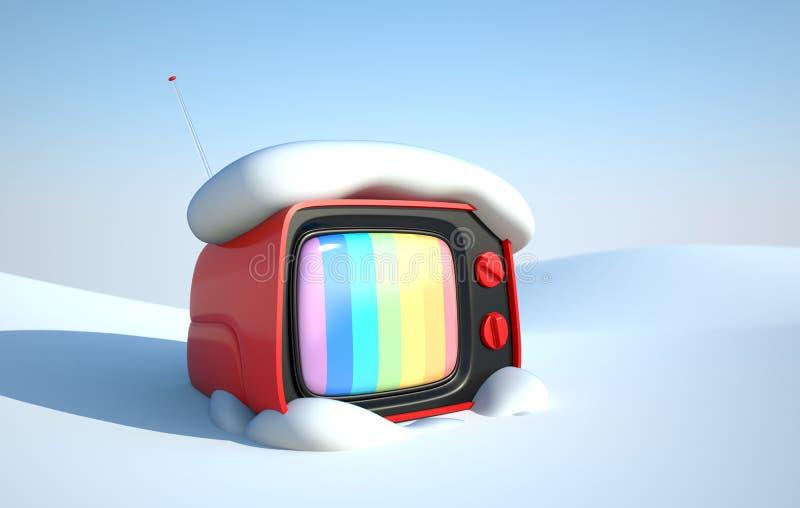 Stilvoller Retro- Fernsehapparat im Schnee lizenzfreie abbildung